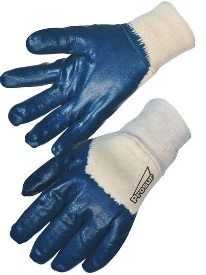 Gant nitrile bleu (3/4) - Enduction lourde - Support coton cousu - T9 - Singer
